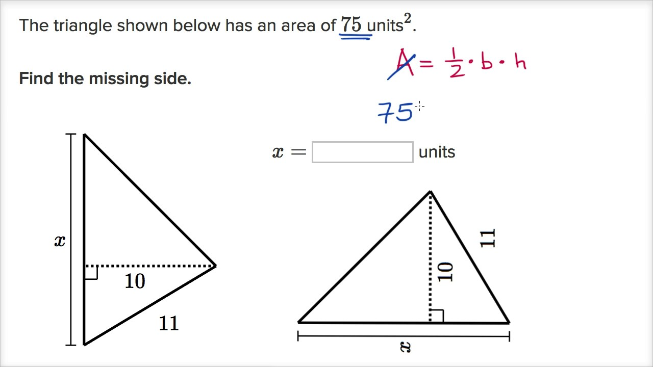 Triangle missing side example (video) | Khan Academy