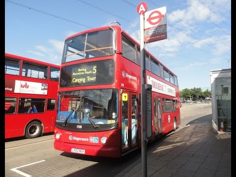 A ride on the Number 5 bus from Romford Station to Canning Town Station, London.