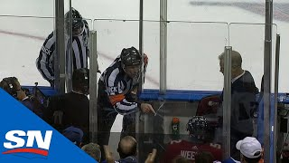 MacKenzie Weegar Nearly Hits Linesman In Head With Stick, Gets Misconduct