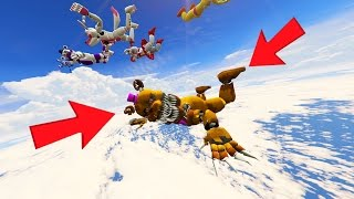 ANIMATRONICS SKYDIVING FROM THE HIGHEST POINT IN GTA 5 (GTA 5 Mods FNAF Funny Moments)