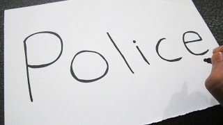 How to turn words POLICE into a Cartoon ! Learn drawing art on paper for kids