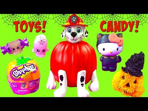 Paw Patrol Marshall Halloween Pumpkin Full of Toy Surprises and Candy! Shopkins Pumpkins & Micro Lit