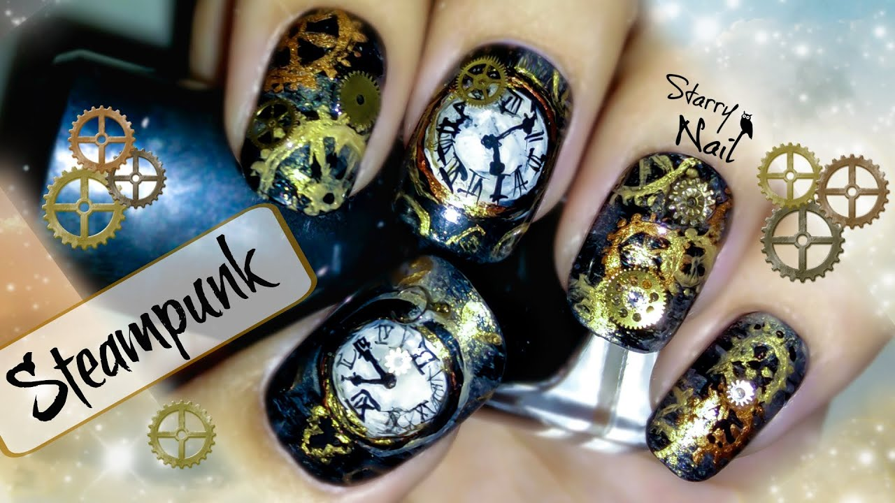 Steampunk nail art tutorial youtube prinsesfo Images