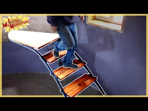 Building Interior Stairs & Burlap Ceiling Finish | Shae's Earthbag Bedroom Ep31 | Weekly Peek