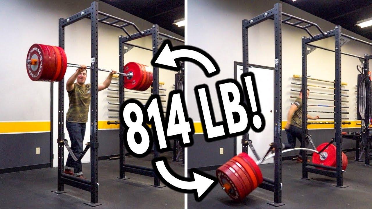 Dropping 800 Lb Bar On Squat Rack Safety Straps Test