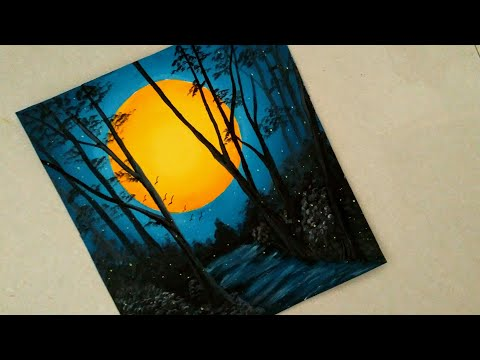 An easy nature night view scenery painting || Sunset Acrylic painting || Sun in the dark scenery ||
