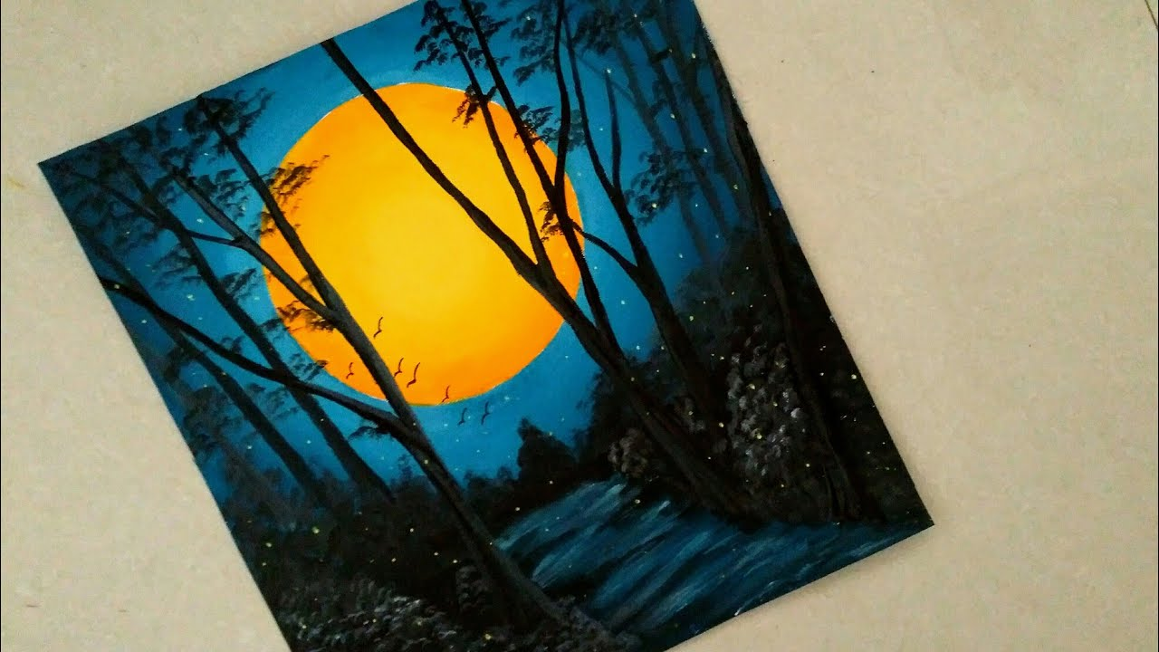 An easy nature night view scenery painting || Sunset ...