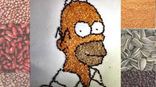 Homer Simpson Drawn With BEANS!