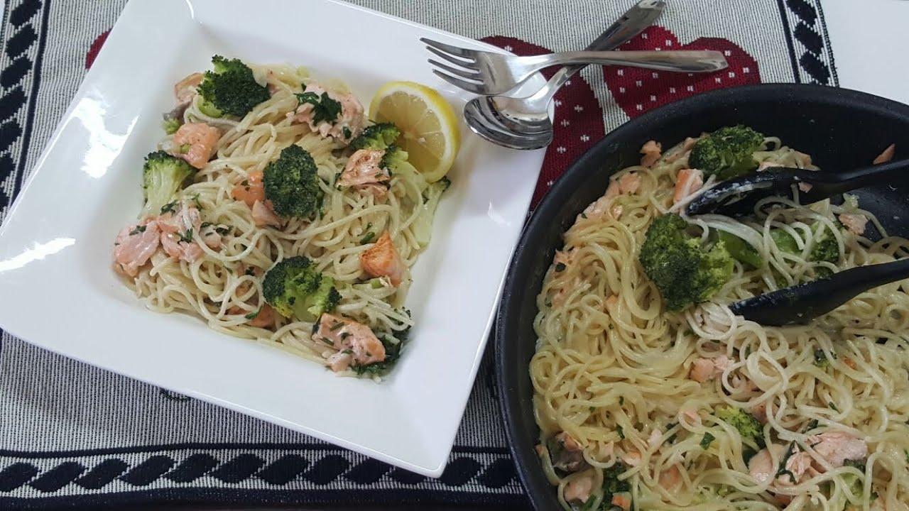 Creamy Salmon Broccoli Pasta Maakron B Lkrym Osmk Lslmon O Lbrokoly
