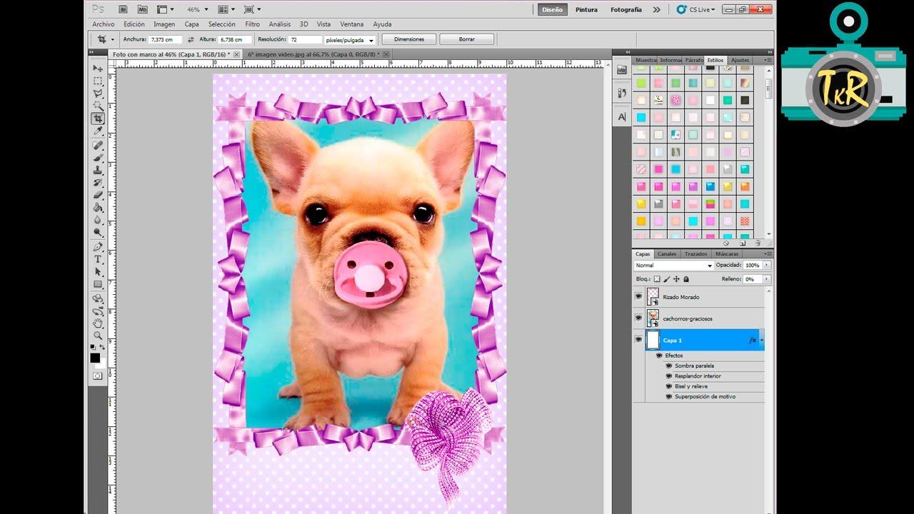 Tutorial Photoshop: Cómo poner un marco y fondo a una foto. Fácil y ...