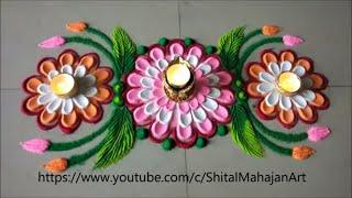 Super Easy and Quick Flower Border Rangoli Designs|Diwali Festival Rangoli by Shital Mahajan