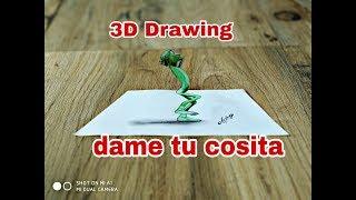Dame tu cosita alien Drawing in 3D - funny dance move by alien - 3d trick art on paper