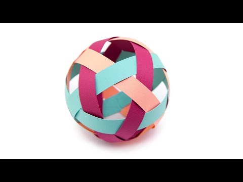 Easy Kirigami Ball Decoration Tutorial - Paper Weaving - Paper Kawaii