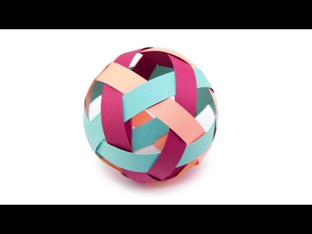 Easy Kirigami Ball Decoration Tutorial - Paper Weaving - Paper Kawaii