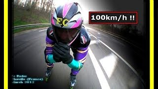"Roller Skating Downhill (Descente) - Speed session  ""kilomètre lancé"" (""kl,Ski"") by Fc(+ 90 km/h)"