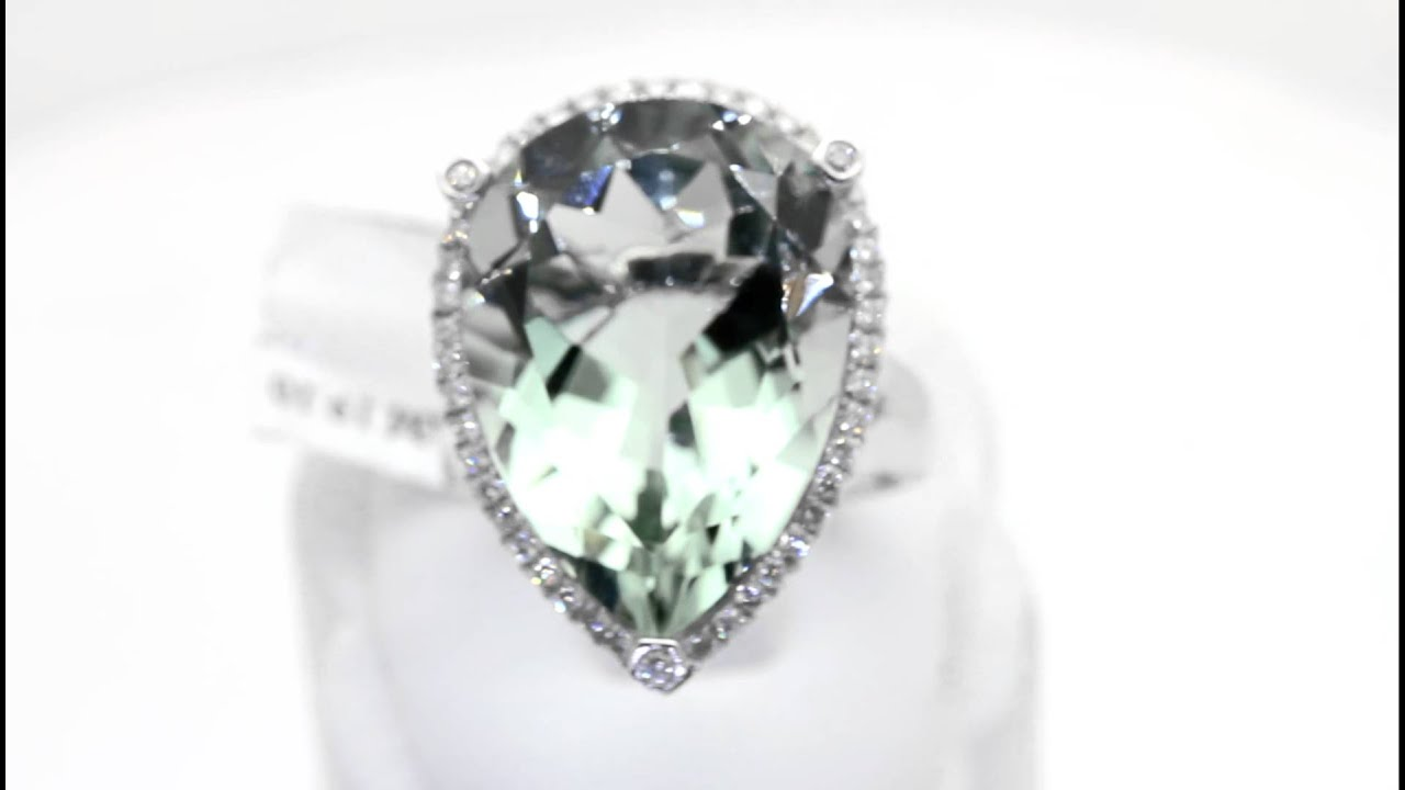 White Gold Large Green Amethyst Pear Shaped Diamond Ring