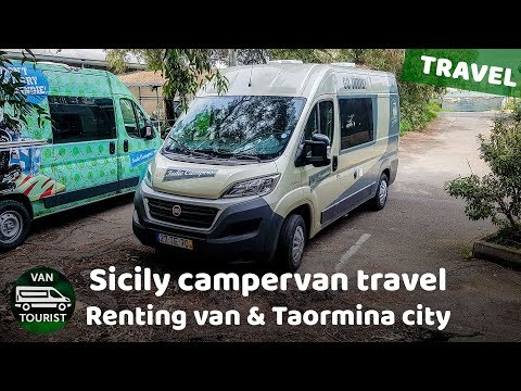 Sicily campervan travel. Renting a campervan and Taormina city antic Greek theatre. Day 3