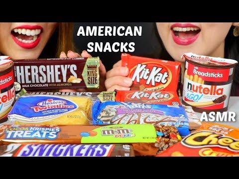 ASMR EATING OUR FAVORITE AMERICAN SNACKS (PART 1) 미국 과자 리얼사운드 먹방 | Kim&Liz ASMR