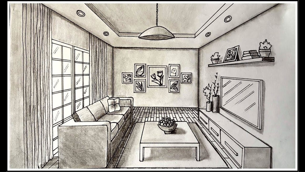 drawing a living room in one point perspective time lapse youtube. Black Bedroom Furniture Sets. Home Design Ideas