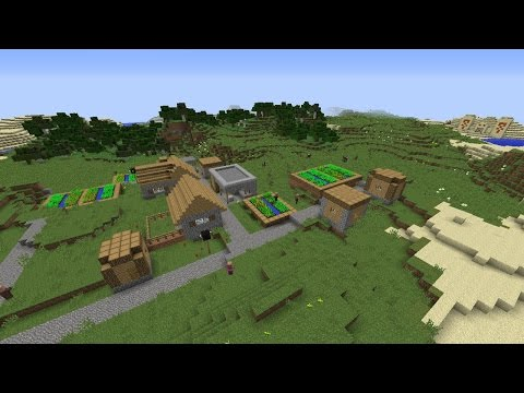Minecraft 1.8.6 Village Seed with Two Villages and Two Desert Temples