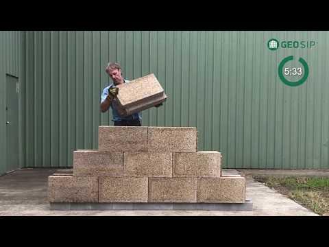 GeoSIP Hempcrete Block wall construction.