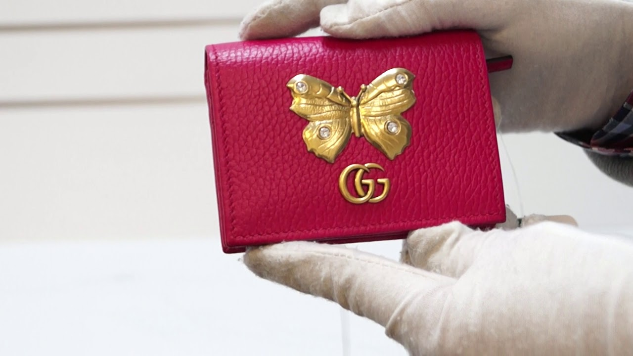 on sale 45f59 57a86 GUCCI Butterfly Leather Card Case Wallet Pink 499361 E5121