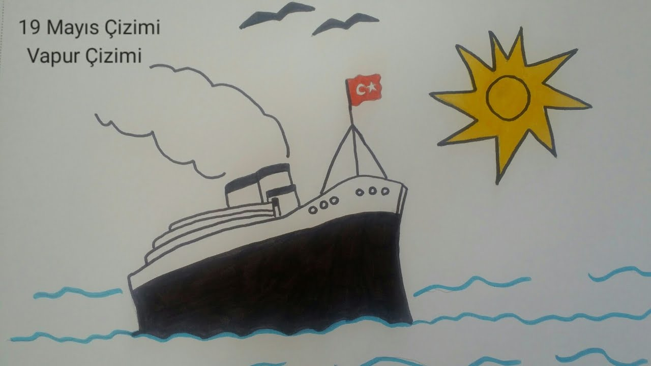 19 Mayis Resmi Cizimi Vapur Cizimi How To Draw A Ship Youtube