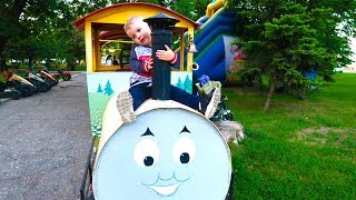 Train for children! Andrei rides a train in the park for children