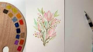 Watercolor flowers / Caran d'Ache Museum / speed painting illustration
