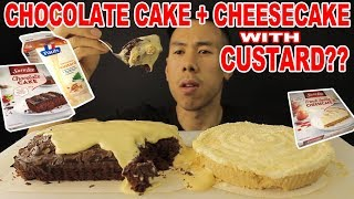[MUKBANG] CHOCOLATE CAKE AND CHEESECAKE SMOTHERED IN CUSTARD-BIG BITES