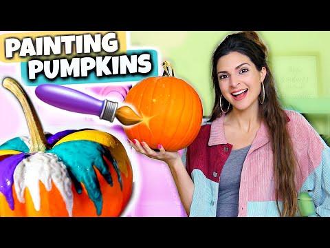 PAINTING CUSTOM PUMPKINS + Testing Crayola Pumpkin Paint (No Carve!)
