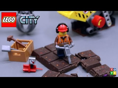 LEGO City Demolition Excavator and Truck Excavating and Exploding a Chocolate Bar Toy video for Kids