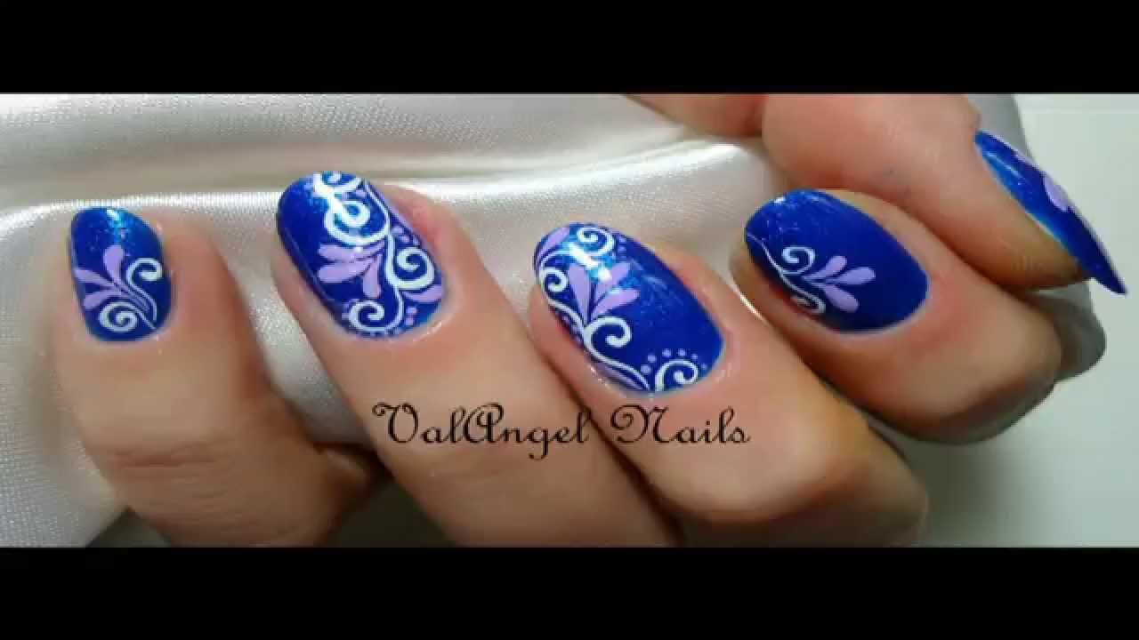 Nail Art Tutorial Blue Arabesque Youtube