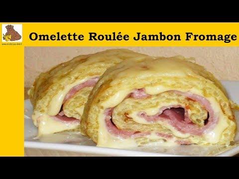 Omelette roulée au jambon et fromage - recette facile