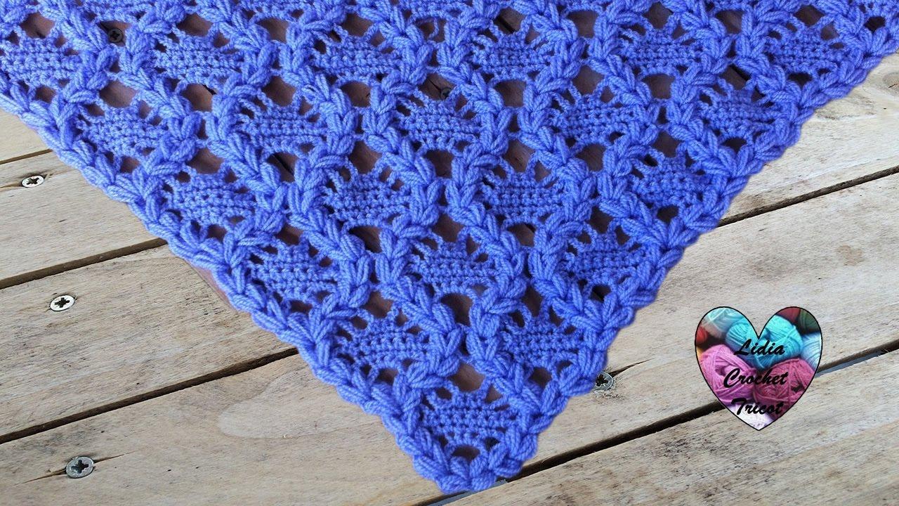 Châle couronnes crochet facile / Crowns shawl crochet (english subtitles)