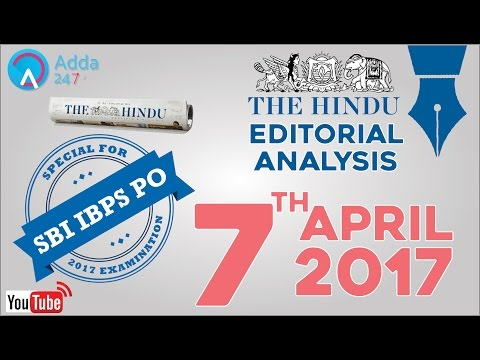 SBI PO 2017 -The Hindu Editorial Analysis - 7th April 2017 - Online Coaching for SBI IBPS Bank PO