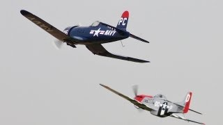 RC MIDDAIR COLLISION HANGAR 9 P51D MUSTANG & F4U CORSAIR - OS FS 120 SURPASS III PUMPED HDMFC - 2010