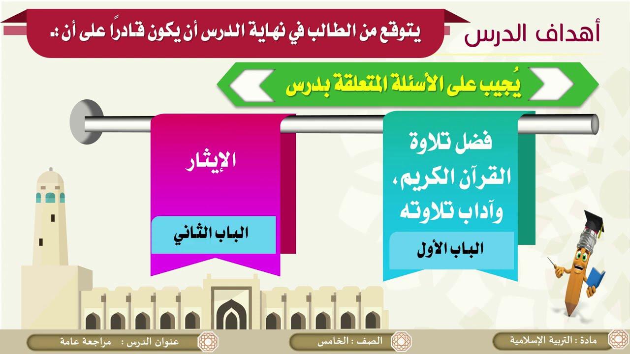 الصف الخامس   التربية الإسلامية   مراجعة  الآداب والأخلاق الإسلامية