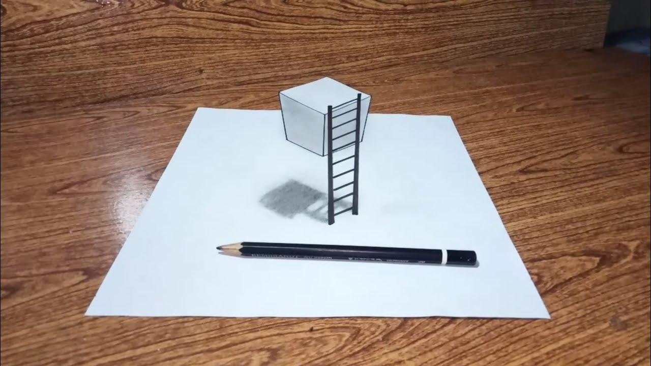 Cara Menggambar 3D Kubus Melayang Dan Tangga By Simple