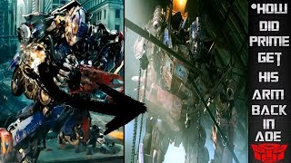 How Did Optimus Get His Arm Back In Aoe?