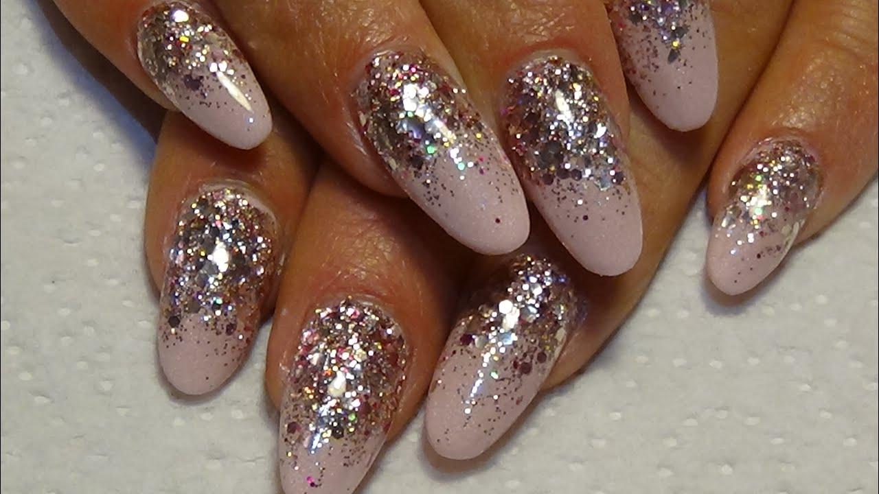 Pink Matalic Acrylic Nails With Rose Gold Glitter Naio Powder