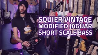 Squier Vintage Modified Jaguar Short Scale Bass Guitar Demo and Review