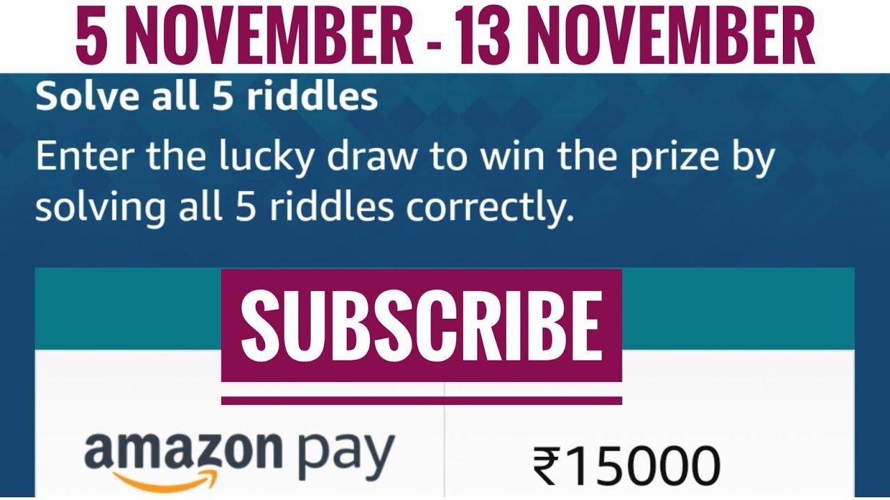 Amazon Festive Riddles Quiz Answers Today Win 75000 Amazon Pay Balance 6 November 2020 Youtube
