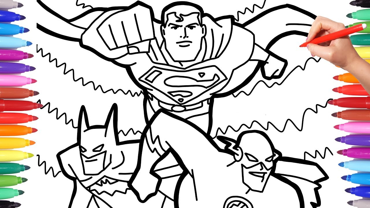 Justice League Superheroes Coloring Pages Batman Superman And Flash Team Up Coloring Page Youtube