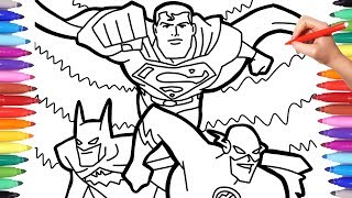 Justice League Superheroes Coloring Pages, Batman Superman and Flash Team Up Coloring Page