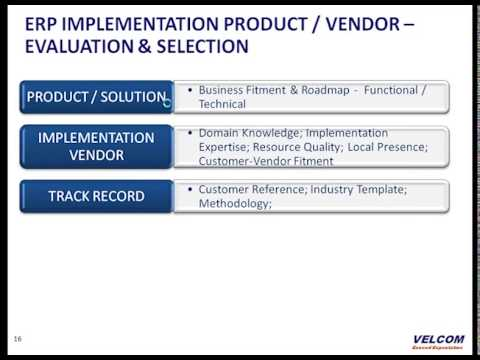 Erp Product / Implementation Vendor - Evaluation & Selection - Youtube