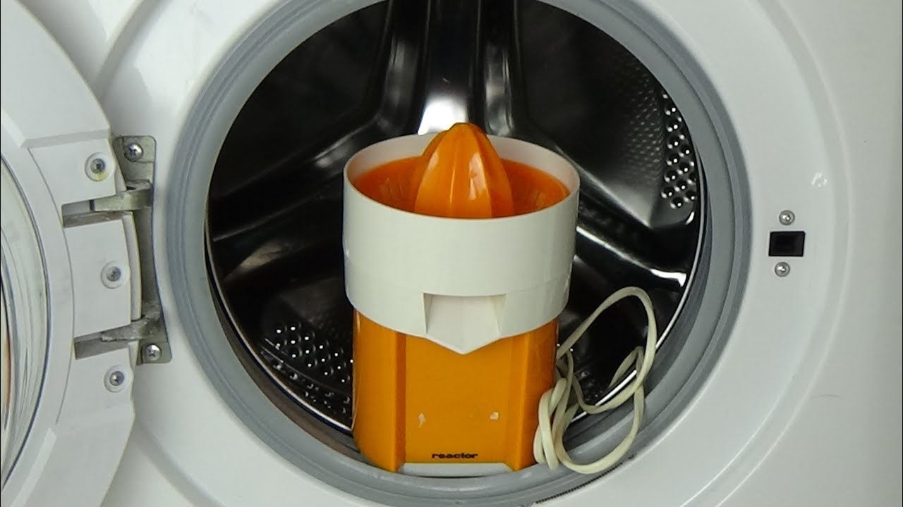 experiment test citrus press broken in a washing machine jus d 39 orange press broken movie. Black Bedroom Furniture Sets. Home Design Ideas