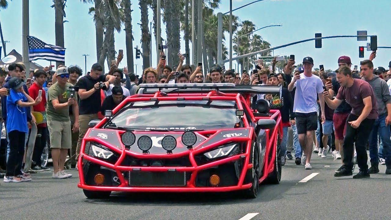 Supercars leaving a Car Show... GONE WILD!! Exhaust Sounds & Burnouts!