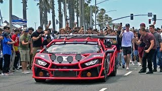 Supercars leaving a Car Show... GONE WILD!! Exhaust Sounds & Burnouts!