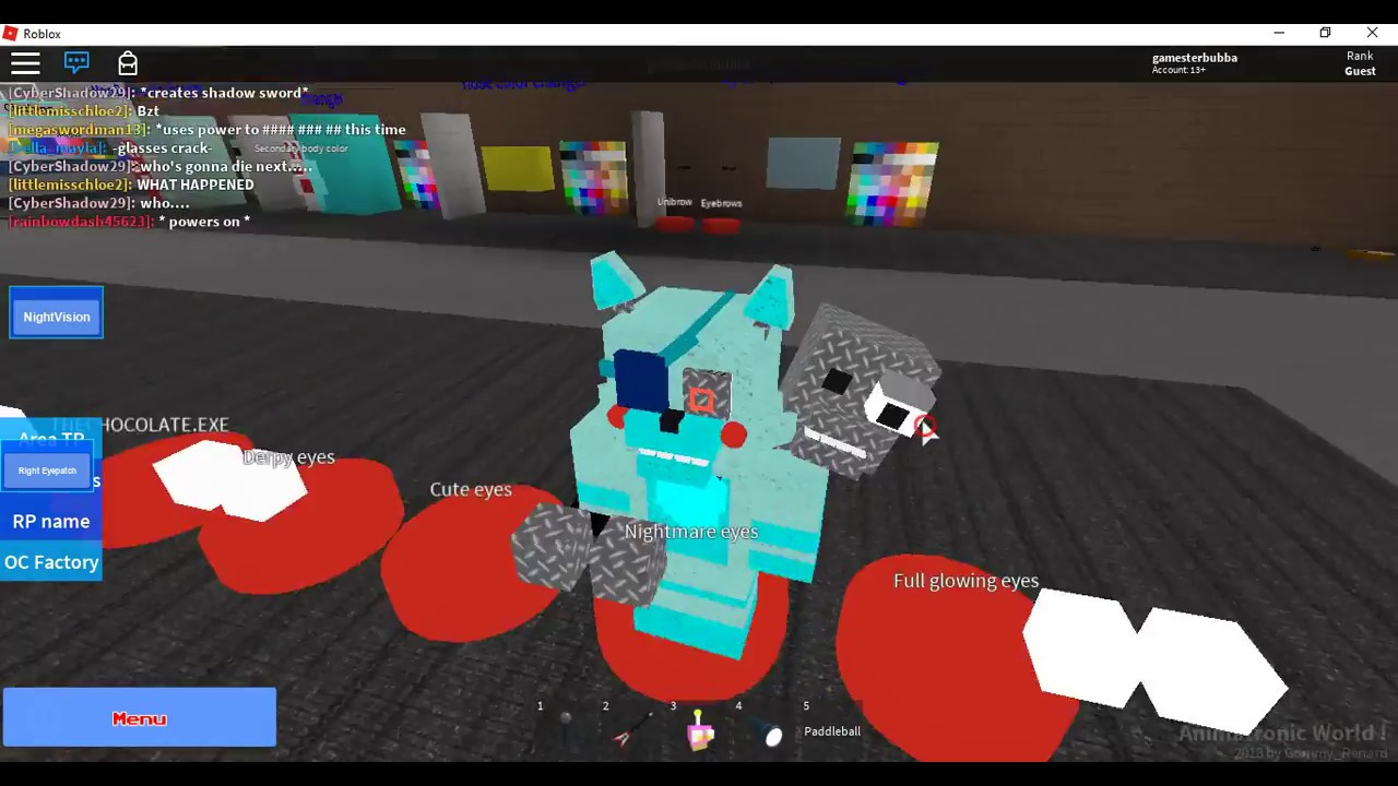 Roblox Fnaf Roleplay Animatronic World Trying The Oc Factory